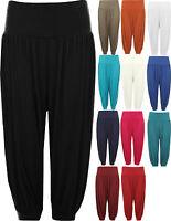 New Womens Plus Size Cropped Harem Trousers Ladies 3/4 Plain Baggy Pants 12 - 26