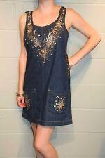 M Blue Denim Gold Paint Glitter Vtg 90s NY Jeans Wearable ART Jumper Mini Dress