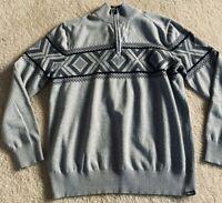Eddie Bauer Mens Gray Holiday Nordic Knit Zip Sweater Pullover sz TXL XL Tall