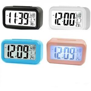 Digital Bedside LED Snooze Alarm Clock Time Temperature Day/Night Desktop Clock