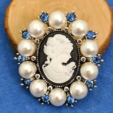 style Victorian Style Cameo Brooch Imitation pearls And Blue Rhinestones Vintage