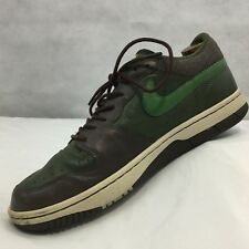 Vtg Nike Court Force Size 10.5 Low Premium Army Olive Green Brown Skater Leather