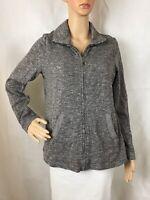 Soma Live Lounge Wear Full Zip Jacket Size L Gray Long Sleeve Cotton