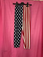 Used Girls Stretch Leggings American USA Flag Red White Stripes Stars Age 11-12