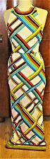 VTG 60/70'S MR. DINO HALTER TOP MAXI DRESS W/COLORFUL GEOMETRIC PATTERN-6(XS)