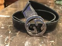 Used Authentic Gucci Men's Black GG Belt Leather 37-44 Waist
