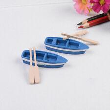 1Pcs Boat+2pcs Oar House Miniatures Garden Decor crafts Bonsai Decoration