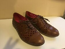 Kate Spade Brown Lace Up Oxfords With Polka Dot Cutouts 7 1/2