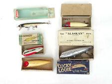 x5 Vintage Heddon Creek Chub Alaska Minser Salmon Plug Fishing Lure Collection