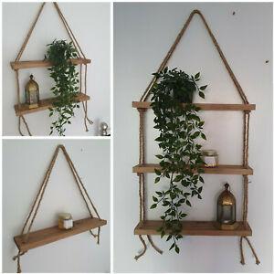 Handmade Hanging Rope Shelf Rustic Wall Mounted Floating Wooden Shelving