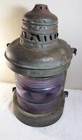Large Antique Perko Brass Ships Lantern with Perkins Pink Fresnel Lens