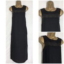 Next Black Linen Blend Crochet Detail Pocket Midi Dress Size 10  (n-77h) (d)