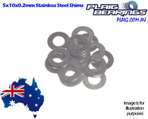 Stainless Steel RC Shims 5x10mm with 0.2mm Thickness - PACK OF 10 Express Post