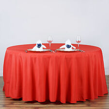 "RED 120"" ROUND POLYESTER TABLECLOTH Wedding Discounted Tabletop Supplies Dinner"