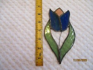 Vintage Stained Glass Tulip Suncatcher