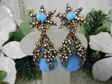 Drippy Detailed Miriam Haskell Rose Montee Floral Drop Earrings