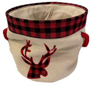 Beige Canvas Round Tote Red Rope Handles Red Flannel Border Deer Head Applique