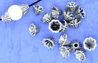 Bead Caps Cones Silver Plated Fits 8 - 12mm Fancy Beads Jewelry Making Supplies