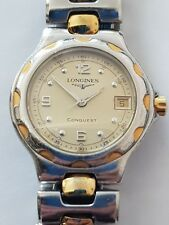 Ladies Vintage Stainless Steel & Gold plate Longines Conquest Quartz Wrist Watch