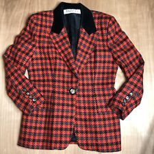 Rare Vintage Tahari Classic Black And Red 100% Wool One Button Blazer Jacket