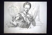 Incisione d'allegoria e satira Leopoldo II, Francesco Giuseppe Don Pirlone 1851