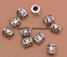 50pcs Tibetan Silver Charms Big Hole Spacer Beads DIY Jewelry 6mm A3141