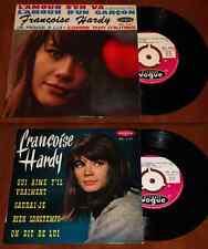 """FRANCOIS HARDY 2x 7"""" Vinyl L'AMOUR & QUI AIME Rare 1963 DISQUES VOGUE Eurovision"""