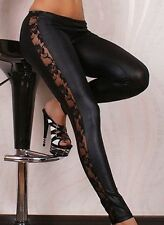 WOMEN'S SEXY LACE GORGEOUS STRETCHY LEGGINGS BLACK NEW