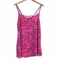 TORRID 0 Floral Challis Swing Cami Neon Hot Pink Navy Blue Tank Top fits Large