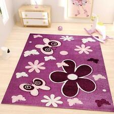 Kinder Teppich Lila Pink Blumen Schmetterlinge