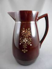 Milk Jug Pitcher: Brown Glazed 3 Cup Unmarked White Orange Dotted Flowers Red