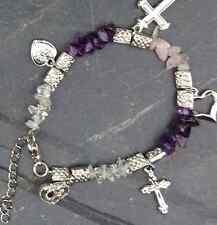 Gemstone Celtic charm bracelets. Irish, Scottish colors. Amethyst, rose quartz.