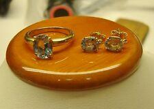 H. STERN 18K Yellow Gold Ring & Earrings W/ Aquamarine/Diamonds DAZZLER! HVA-13