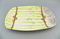 "VTG Ceramic Asparagus Bunch Dish Platter 12"" x 8"" Italy Purple Green #733 EUC"