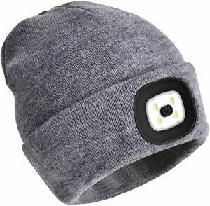 LED Rechargeable USB Beanie Hat Unisex Head Lamp Knitted Warm Cap Torch Light
