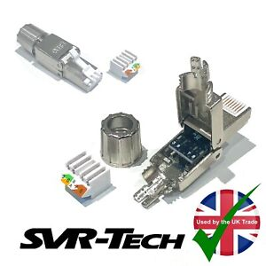 SVR-Tech® Cat 6 6a RJ45 Tool-Less Connector Shielded Gold Plated Terminals