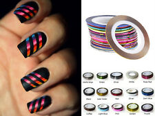 NAIL STICKER ROLLS STRIPING TAPE NAIL ART METALLIC HOLOGRAPHIC GLITTER 39 colour