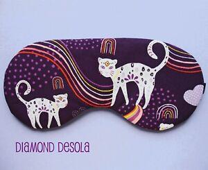Eye Sleep Mask Soft Cotton Big Cat Rainbow Comfy Meditation Blackout UK Made