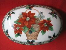 VIntage MIKASA Porcelain Christmas Poinsetta Covered Dish