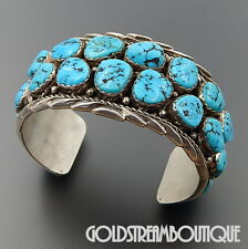 VINTAGE E. YAZZIE NAVAJO STERLING SILVER 2 ROW TURQUOISE CLUSTER CUFF BRACELET