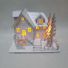 BATTERY 8 WARM LED WHITE CHRISTMAS WOODEN HOUSE VILLAGE SCENE XMAS DECORATION