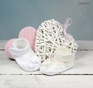Taufschuhe Mädchen Babyschuhe Ballerina SCHLEIFE ♥ CREME oder WEISS ♥10,11,12 cm