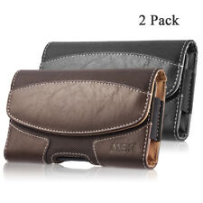 2x Durable Leather Horizontal Cell Phone Belt Clip Phone Carrying Pouch Case