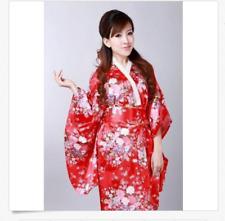 *Red Japanese kimono Yukata Geisha Best Dress Women Gown Haori Floral with Obi