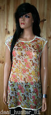 Vila Elegant Ladies Blouse Top Orange Flowers L/12/40 Transparent Boho Style66/8
