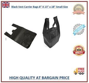 "100 Plastic Vest Carrier Bags Black Small Size 8x13x18"" 15mu Supermarkets Stalls"