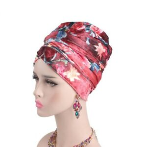 Women Velvet Floral Wrap Headscarf Bandana Hijab Africa Long Tail Cap Turban Hat