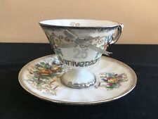 Vintage Olimco Japan 25TH ANNIVERSARY Cup & Saucer; Yellow Roses (Non-Wedding)