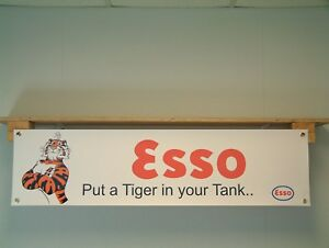 Esso Tiger Banner workshop garage vintage 70s style petrol advertising sign