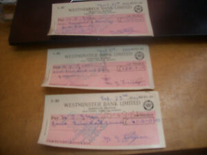 WESTMINSTER BANK CHEQUES 1964  HIGH VALUE WITHDRAWLS £675 TOTAL